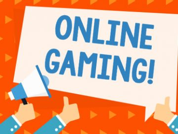 a colorful visual of ONLINE GAMING in light blue letters against a white background with thumbs up around the words
