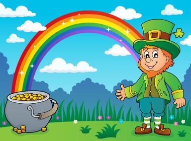 drawing of a leprechaun and a pot of gold at the end of a rainbow