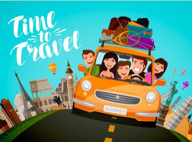 a colorful cartoon of a family in their car setting out on a road trip vacation with urban and country images in the background
