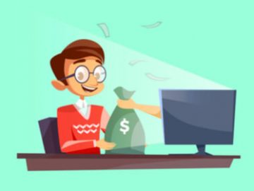 very happy smiling online casino gamer playing on a laptop with a hand holding a bag of money coming out of the screen