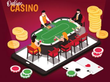 a computerized graphic of four online gamers around a gaming table. The men are in suits and the women are dressed elegantly.